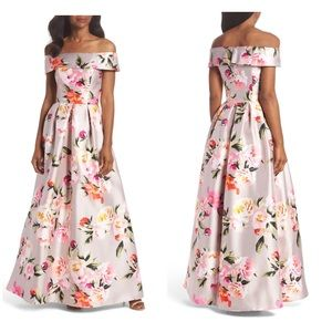 Eliza j floral off shoulder gown